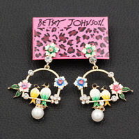 Betsey Johnson Enamel Crystal Pearl Flower Birds Earbob Dangle Earrings Gift