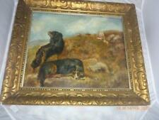 Antique 1875 Oil Painting Sheep Dogs Framed Signed Geo Bright