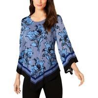 Alfani Womens Navy Printed Asymmetrical-Hem Blue Tulip Top Sz M $69.5 TINI {&}