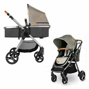 LIANGDEMO Kinderwagen 360 Grad drehbarer Kinderwagen Marke 2 in 1 Kinderwagen 3 in 1 Lederwagen Aluminium Vierrad Kinderwagen