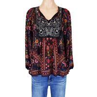 Womens Medium M Top Peasant Blouse Shirt Embroidered Floral Print Boho Summer