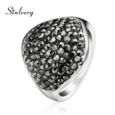 Rings White Gold Plated Fashion Jewelry Big Geometric Black Full Cubic Zirconia