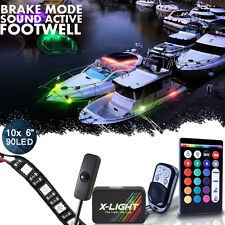 10pc LED Glow Accent Pontoon Deck Marine Boating Waterproof Neon Lights Kit