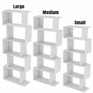 Wood Bookcase Bookshelf S Shape 5 Tier Shelves Free Standing Shelving Storage