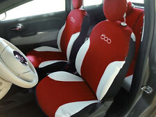 Fodere Foderine Coprisedili auto bordeaux su misura FIAT 500 07> ANT + POST