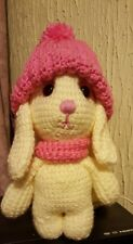 Amigurumi Betsy Bunny soft hand crochet toy. With hat and scarf.