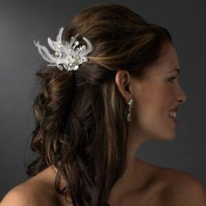 Rhinestone Dazzle White Feather Bridal Hair Comb