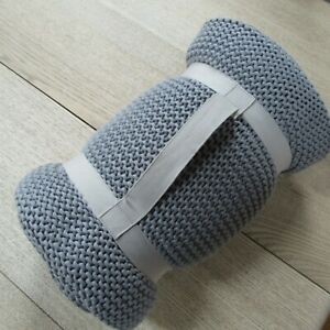 little home at John Lewis Addison Knitted Throw - Light Grey - 120cm X 120cm.
