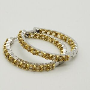New Sterling Silver 925 Yellow Topaz Gemstone 33'mm Large Hoop Earrings