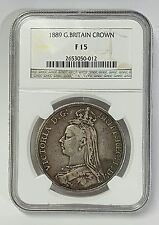 1889 Great Britain Silver Crown Ngc F 15 Victoria George & Dragon