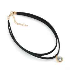 Cool Womens Charm Crystal Pendant Faux Black Leather Choker Necklace Layer Cord