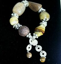 Stone Wood Nut Large Unisex #D11 Boho Stretch Bracelet Mixed Media Metal Beads