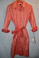 Vintage NWT Norm Thompson 80s Womens Dress Pink Striped Belted Silk Button XL