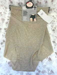 NEW! M&S Marks & Spencer UK18 almond no VPL full briefs / knickers / panties