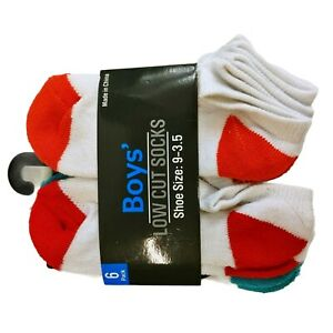 6 Pack Low Cut Boys Socks White Base Color Tips Shoe Size 9-3.5 New