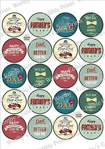 Fathers Day x 20 Cupcake Toppers Edible Icing Fairy Cake Toppers (2)