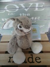 Peluche doudou lapin fourrure marron beige chiné blanc Boutchou Monoprix neuf