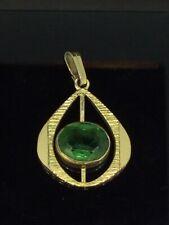 ANTIQUE PENDANT GREEN GLASS ART DECO DESIGN REMARKABLE ROLLED GOLD HALLMARKED