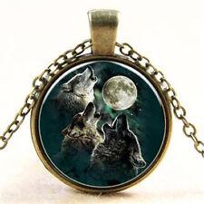 Weinlese-Bronze Wolf & Dragon Art Glass Cabochon Anhänger Halskette Schmuck Neu