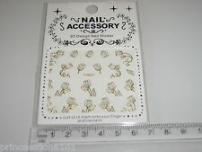 3D Nail tip Art stickers transfer water decals Gold Tulip Flower TJ27