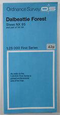 1954 OS Ordnance Survey 1:25000 First Series Map NX 85 & pt 84 Dalbeattie Forest