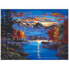 DIY Scenery Paint by Numbers Kit Oil Painting Frameless Decor Mountain Stream