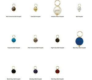 14k Solid Yellow Gold 10mm Changeable Ball Hooplet Dangle Bead Charms Gemstone