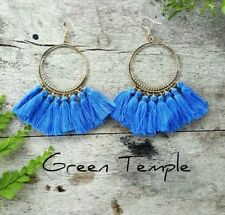 STUNNING SOFT BLUE LIGHT TRIBAL GOLD BOHO HOOP FRINGE TASSLE TASSEL EARRINGS