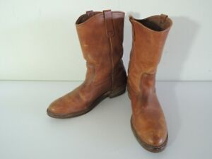 Vintage 1980s RED WING 11-Inch Brown Leather Pull On Western Boots Size 13 B