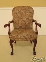 45757EC: Carved Mahogany Eagle Arm Upholstered Chair
