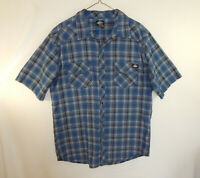 Dickies Mens Short Sleeve Plaid Casual Shirt Size EXTRA LARGE XL