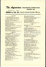 """[54866] 1955 """"THE AQUARIUM"""" INDEX TO VOLUME 24 (JANUARY thru DECEMBER 1955)"""
