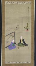 """JAPANESE HANGING SCROLL ART Painting """"Figures"""" Asian antique  #E3614"""