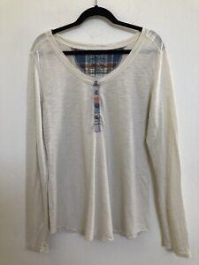Patagonia Women's Necessity Henley Shirt XL Organic Cotton Tencel Ivory NWOT