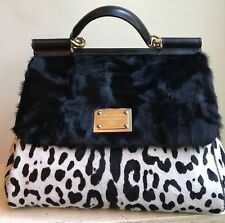 Dolce & Gabbana Miss Sicily Large Black/White Leopard Print Pony Hair NWOT