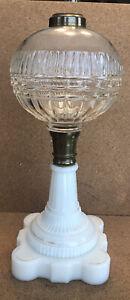 "Vintage Kerosene Oil Lamp Milk Glass Base With Ribbed Font Gold Highlights 13"""