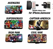 Avengers Inspired Marvel inspired leather flip phone case for Huawei Samsung