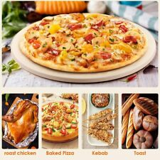 15 IN Round Pizza Stone Thick Grilling Baking Pan Ovenware for Oven Grill BBQ