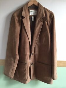 Mens Orvis Brown Leather Coat Jacket Size 42