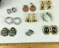 9 Pairs Vintage Costume Jewelry Clip-on Earrings Lot Bead Teardrop Hoop Flower