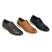 Daxx Mens Genuine Leather Comfort-sole Lace-up Wingtip Brogue Dress Shoes