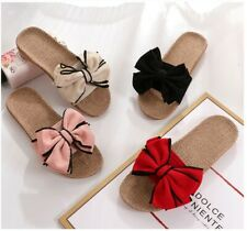 Butterfly-Knot Home Open Toe Slippers Summer Rattan Pink Beige Red