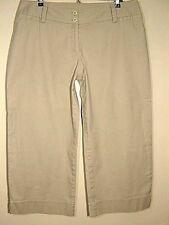 AB STUDIO womens size 10 Khaki Tan Straight Wide Leg Relax Fit Flat Front Capris