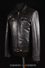 Mens LUFTWAFT GERMAN Jacket Black Real Cowhide WW2 Leather Biker Jacket Blouson