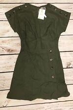 Asos Design Green Cotton Dress Short Kimono Sleeve Button Detail US 4 UK 8