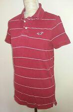 "Hollister Mens Size S Red Stripe Polo Shirt Summer Wear 36"" 38"" Chest Teen Boys"