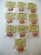 RESIN DOUBLE HEART FLATBACK LOVE WORD LOT OF 10 PC NEW PAINTED CRAFT MAUVE PINK