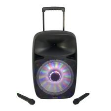 "Party Light & Sound SP500 500w 12"" Portable PA System Bluetooth VHF Mics USB SD"