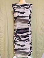 Coldwater Creek Dress Sz 10 Crinkle texture Zebra Print Sleeveless VGC