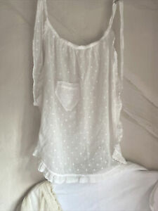 Vintage Young Maid's Apron White Cotton French Polka Dots Pinny Period Costume